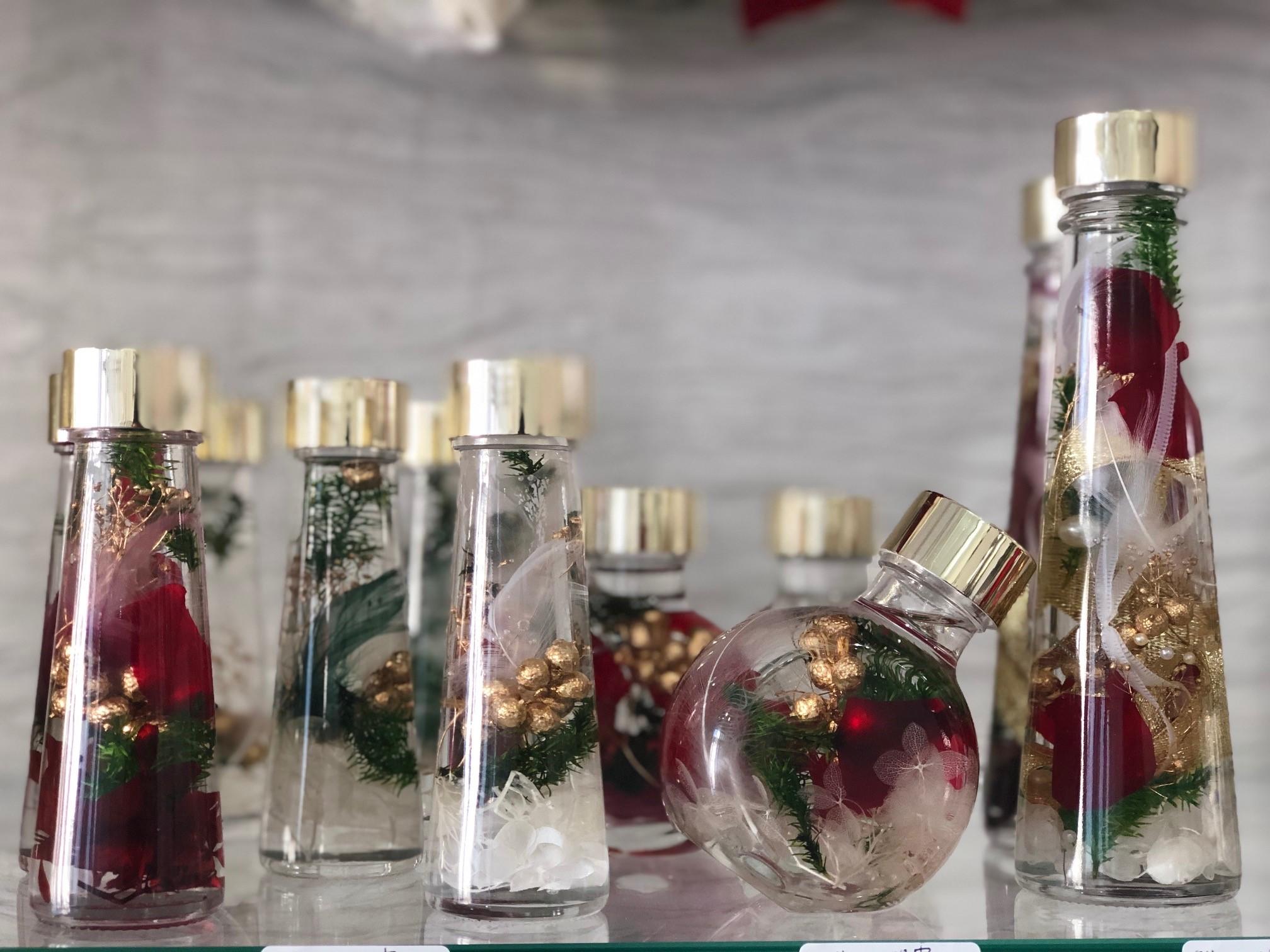 池袋 プリザーブドフラワー専門店 フラワーショップリズカ クリスマス ハーバリウム 赤 レッド